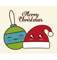 Kawaii sphere and hat of Christmas season vector