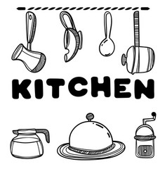 kitchenware with cute kitchen quote vector image