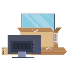 Large plasma tv is half visen out box vector