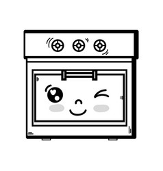 Line kawaii cute funny oven technology vector