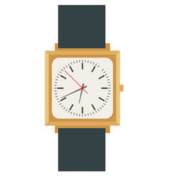 Male wrist watch with square analog dial vector