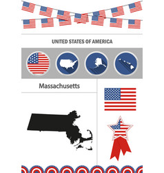 Map of massachusetts set of flat design icons vector