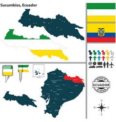 map of sucumbios ecuador vector image vector image