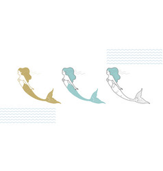 mermaids in a modern minimalist style line art vector image