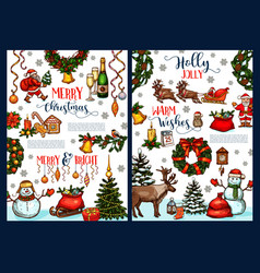 merry christmas wish sketch greeting card vector image