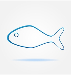 Minimal blue fish design sign vector image