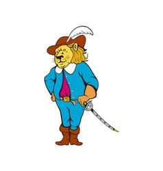 Musketeer lion hat sword cartoon vector