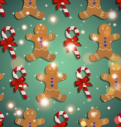 New year pattern with the gingerbread man and vector
