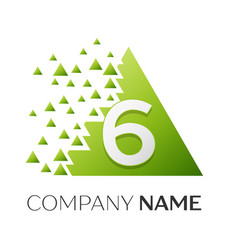 number six symbol in the colorful triangle vector image