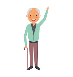 old man grandpather character standing vector image