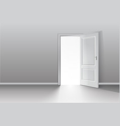open door in a white room with the outgoing light vector image