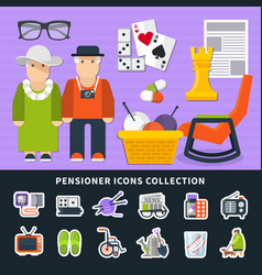 Pensioner flat colored icon set vector