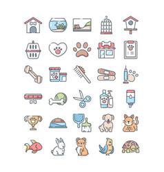 pet shop outline color icons set vector image