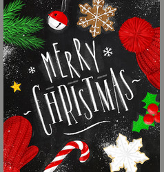 poster merry christmas chalk vector image