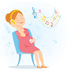 Pregnant woman enjoy music vector