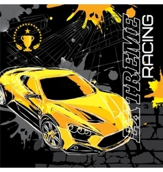 Racing car on a black background vector image