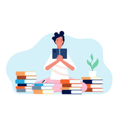 reading girl student with book happy woman and vector image