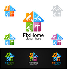 Real estate logo fix home logo design suitable vector