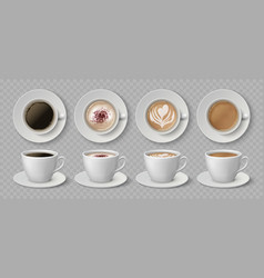 realistic coffee cups espresso latte and vector image