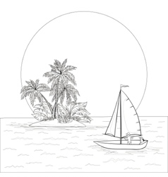 Sailing boat in tropical sea contours vector