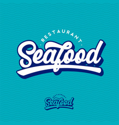 Seafood restaurant logo beautiful calligraphy sign vector