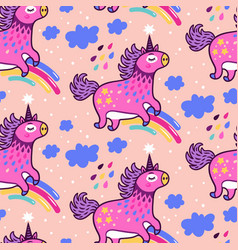 Seamless pattern with cute unicorns rainbows vector