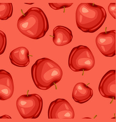 seamless pattern with sweet red ripe apple vector image