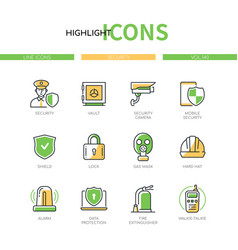 Security - modern line design style icons set vector
