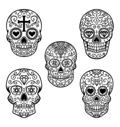 set of sugar skull isolated on white background vector image