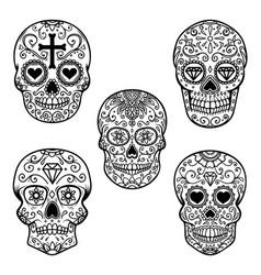set sugar skull isolated on white background vector image