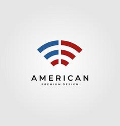 signal wifi logo symbol with american flag symbol vector image