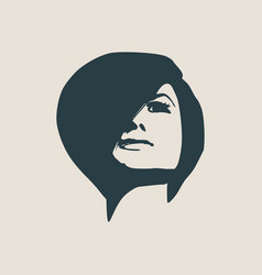 Silhouette of a female head face front view vector