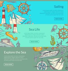 Sketched sea horizontal banner templates vector