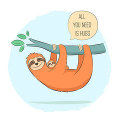 Sloth with baby on branch vector
