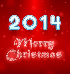 Snowy merry christmas red background vector