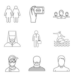 Specific people icons set outline style vector