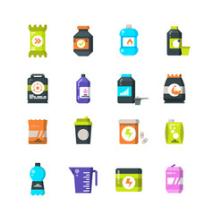 sports nutrition supplements and protein flat vector image