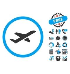 Takeoff Flat Icon with Bonus vector