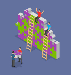 team building background isometric style vector image