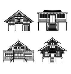 Thai architecture pavilion history building vector
