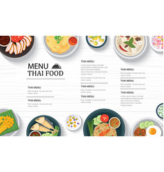 Thai food menu restaurant on a white wooden table vector