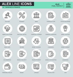 thin line banking and finance icons set vector image