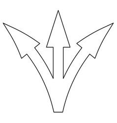 Three way direction arrow icon vector