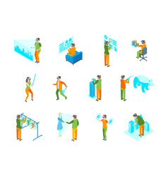 virtual augmented people 3d icons set isometric vector image