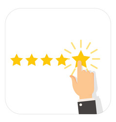 Voting hand - rating stars service feedback vector