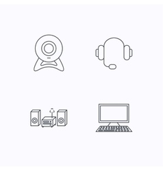 Web camera headphones and computer icons vector image