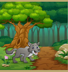 Wolf in the inside forest vector