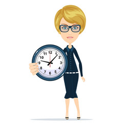 Woman holding clock indoor vector
