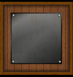 wooden boards with a metal sheet vector image
