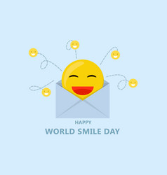 World smiley day concept background flat style vector